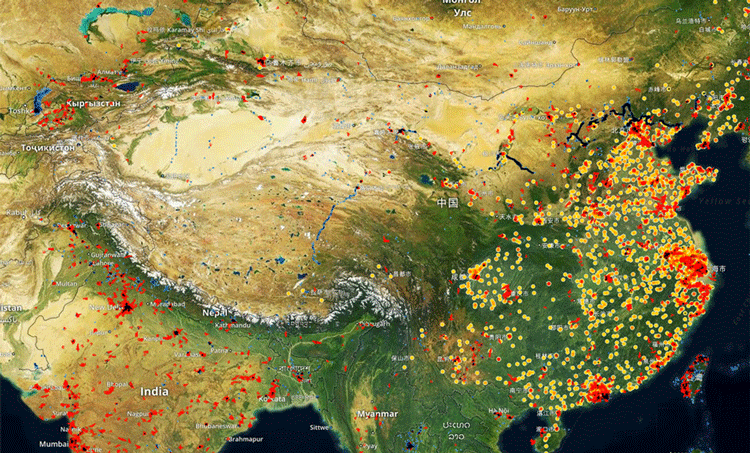 """Spaceknow tracks manufacturing activity for over 6,000 industrial facilities in China using its """"Satellite Manufacturing Index"""" (SMI) proprietary algorithms. Map: Spaceknow."""