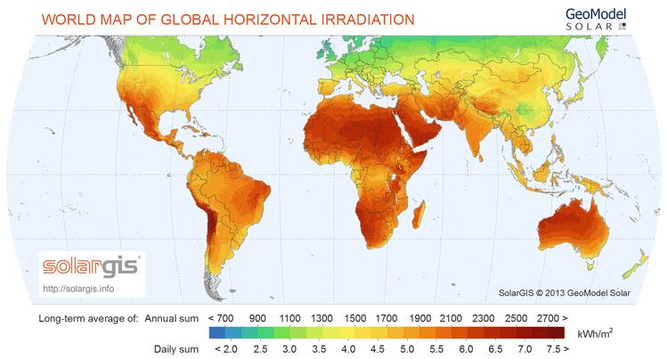 Global map of Global Horizontal Irradiance (GHI).  Map: SolarGIS.info