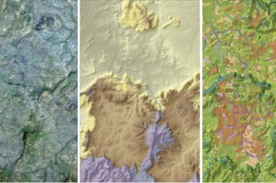 Satellite imagery and data from Landsat 8 (left) and the Shuttle Radar Topography Mission (center) show land cover (right)  on the Senegal–Guinea border in 2014. Source: Skidmore et al, 2015.