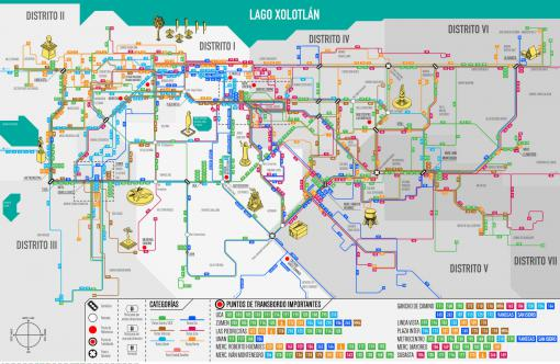Crowd-sourced public transportation map for Managua, Nicaragua.