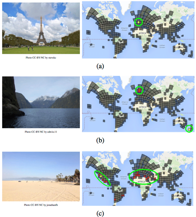 The examples on the left are the query photos. In response, PlaNet will output a probability distribution on the map. In these three examples, the Eiffel Tower (a) is confidently assigned to Paris, the model believes that the fjord photo (b) could have been taken in either New Zealand or Norway. For the beach photo (c), PlaNet assigns the highest probability to southern California (correct), but some probability mass is also assigned to places with similar beaches, like Mexico and the Mediterranean. The authors use a model with a much lower spatial resolution than the full model for visualization purposes. Source: Weyand, Kostrikov, & Philbin, 2016.