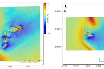 Elevation models show the SS Sansip (left) and the SS Samvurn (right) as imaged by a multibeam echosounder. Both of these ships leave sediment plumes detectable by Landsat 8 during ebb and flood tides. Source: Matthias Baeye et al