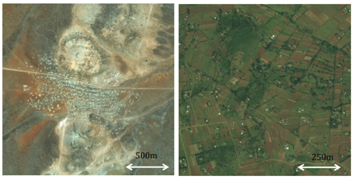 Dense settlements (left) can take advantage of short-range wireless hotspots. Sparse settlements (right) require long-range cellular technology. Images: Digitalglobe.