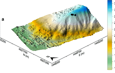 3D representation of automatic DEM of the studied area (the black dots indicate the damaged buildings).