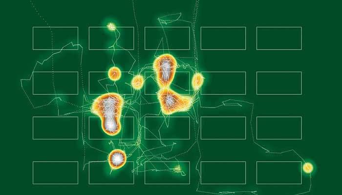 ArcGIS Spatial Analyst was used to generate a density surface from point data created by a single dancer's  movements.  Source: GIS to Understand Dance, and Vice Versa, 2009.