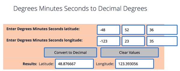 Degrees Minutes Seconds to/from Decimal Degrees tool from the Federal Communications Commission (FCC).
