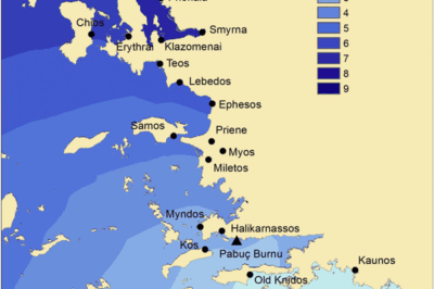 Sailing times from Rhodes (Ialysos or Kameiros), derived using an anisotropic surface. From: Leidwanger, 2013.