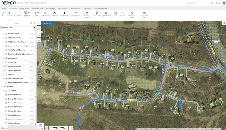 Screenshot showing Del Co Water's mapping application.