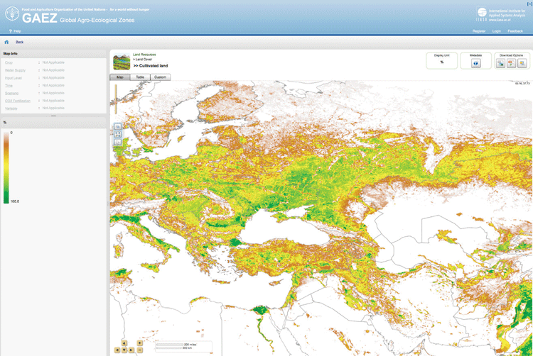 Screenshot from the GAEZ data portal.