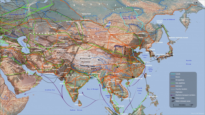"Map of Asian trade routes. Source: Parag Khanna, ""Connectography: Mapping the Future of Global Civilization"""