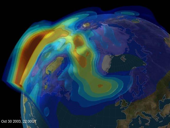 Model of the 2003 Halloween solar storm on October 30.  Source: University of Bath.