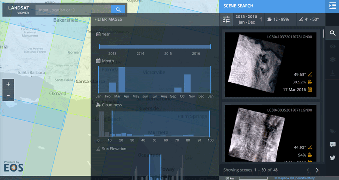 EOS DA's Landsat 8 data viewer.