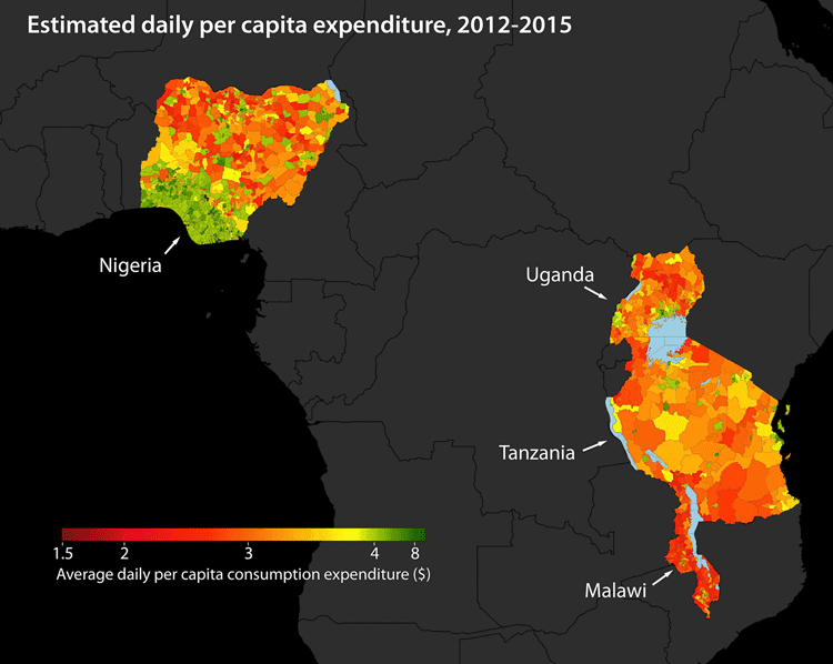 Estimates of per capita consumption in four African countries. Stanford researchers used machine learning to extract information from high-resolution satellite imagery to identify impoverished regions in Africa. (Image credit: Neal Jean et al.)