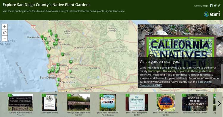 This ArcGIS Based Story Map Highlights Public Gardens Featuring Native Plants
