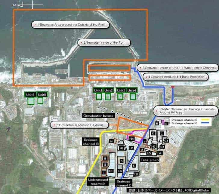 Map of the Radioactive Analysis around Fukushima Daiichi Nuclear Power Station. Source: TEPCO, 2016.