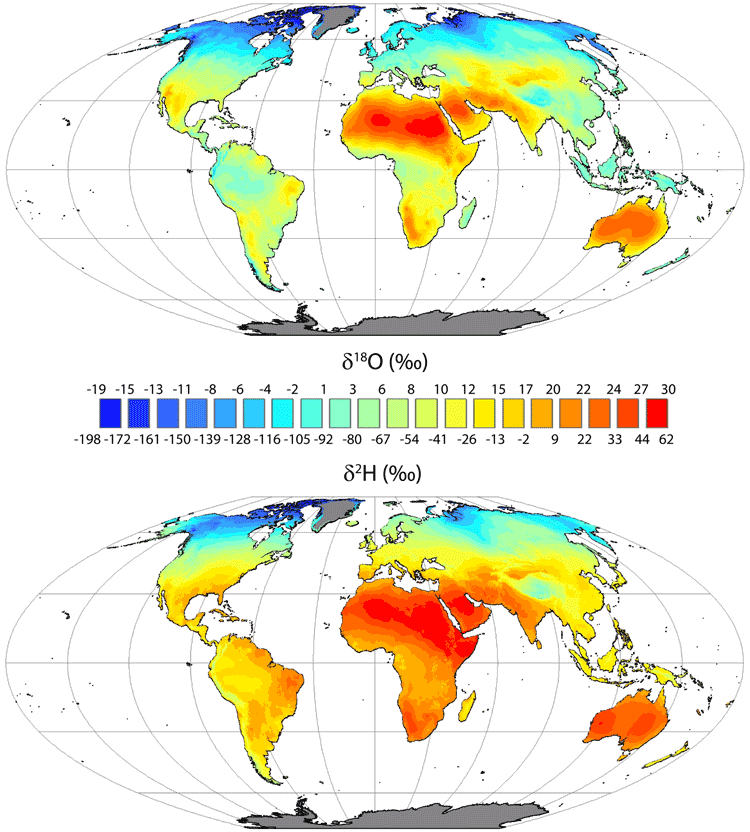 Global mean annual average leaf water δ18O and δ2H isoscapes for the sites of evaporation within leaves. Figure: West, Sobek, & Ehleringer, 2008.
