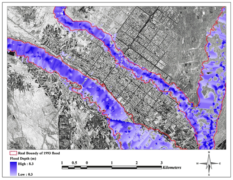 Simulated 1993 historical flood event at the vicinity of Jiroft city in southeastern Iran. From: Sarhadi, Soltani, and Modarres, 2012.