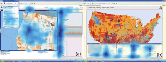 Heat maps showing the gaze patterns on two different map interfaces. Source: Coltekin et. al, 2009.