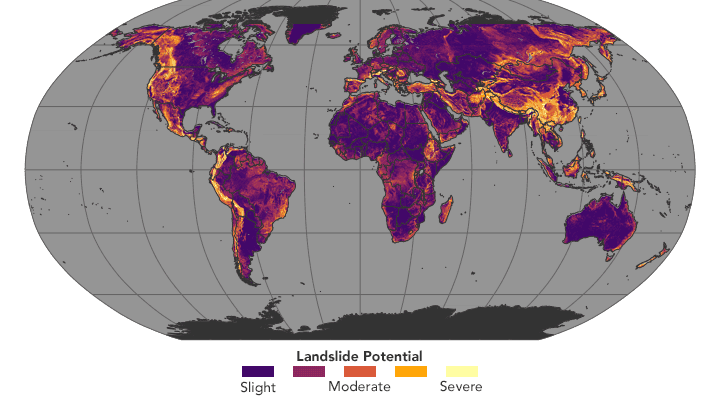 World map assessing landslide potential. NASA Earth Observatory images by Jesse Allen, using landslide susceptibility data provided by Thomas Stanley and Dalia Kirschbaum (NASA/GSFC), and topographic data from the Shuttle Radar Topography Mission (SRTM).