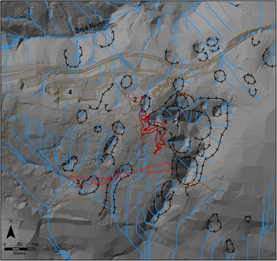 Resulting surface drainage network (in blue) from hydrological model for the area surrounding Altamira cave (hillshade base model for relief). From Elez et.al, 2013.