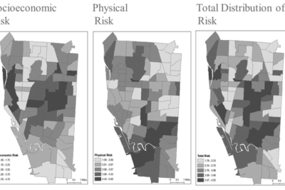 Maps showing Socioeconomic risk, physical risk, and total risk areas for drug abuse. From: Mendoza et. al, 2013).