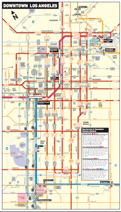 The Los Angeles Transit System Map for Downtown Los Angeles.