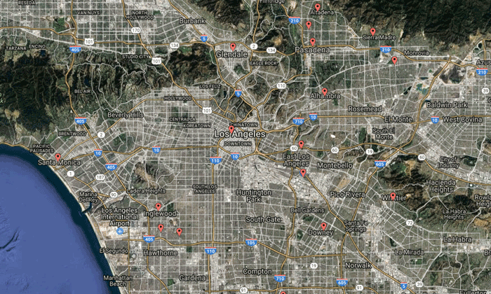 Map showing libraries in Los Angeles and the surrounding areas who are part of the Oculus Program.