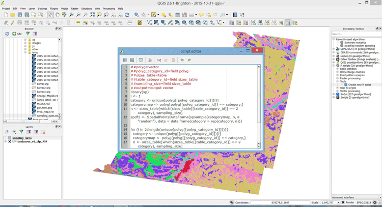 Running an R script in QGIS. Screenshot: amsantac.co