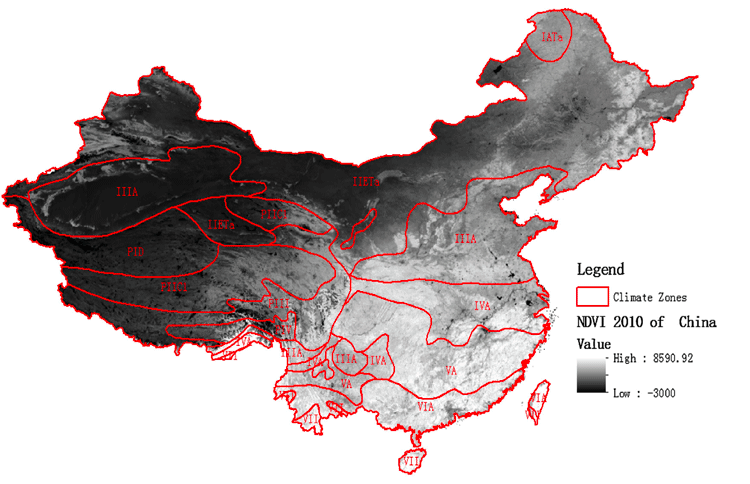Spatial stratification of the NDVI in climate zones in Mainland China. From Wanga, Zhangb, & Fu, 2016.