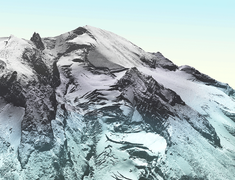 3D LiDAR surface model of a view looking southeast at Glacier and Kennedy Peaks.