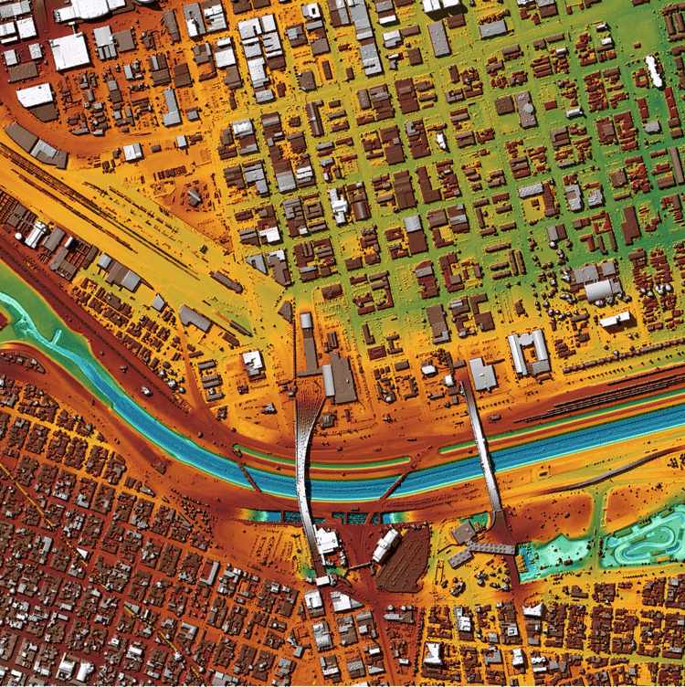 3D LiDAR surface model, colored by elevation, for a portion of the City of El Paso, Texas. U.S. and Mexico territory, separated by the Rio Grande River