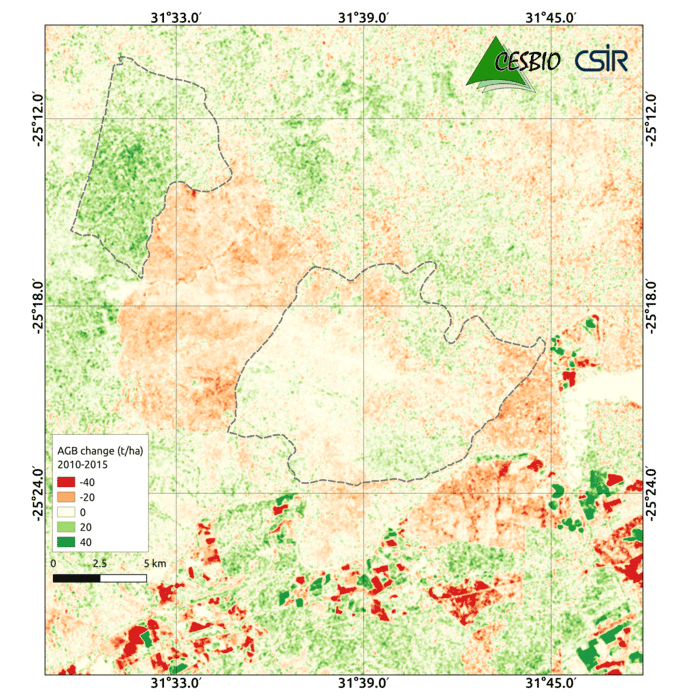 Map showing biomass changes between 2010 and 2015 in an area near Nelspruit in South Africa. Green depicts an increase while orange and red show a decrease. Map: GlobBiomass project, ESA< 2017.