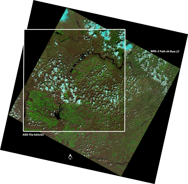 Landsat Analysis Ready Data (ARD) Tile h05v02 overlay on Landsat 8 WRS-2 path 44 Row 27.