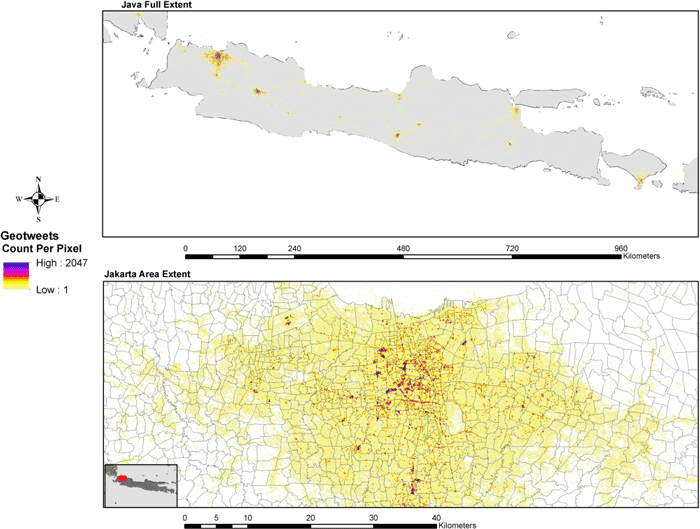 Results of a two-month aggregation of geo-located tweets over the full extent of Java (top) and a view focused on Jakarta (bottom)