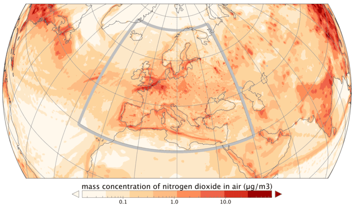 Map of concentrations of nitrogen dioxide forecasted for 17 June 2017 based on data from a number of satellites. The Copernicus Sentinel-5P mission will deliver daily forecasts of air pollution with a resolution of 7 × 3.5 km. Map: Copernicus Atmosphere Monitoring Service