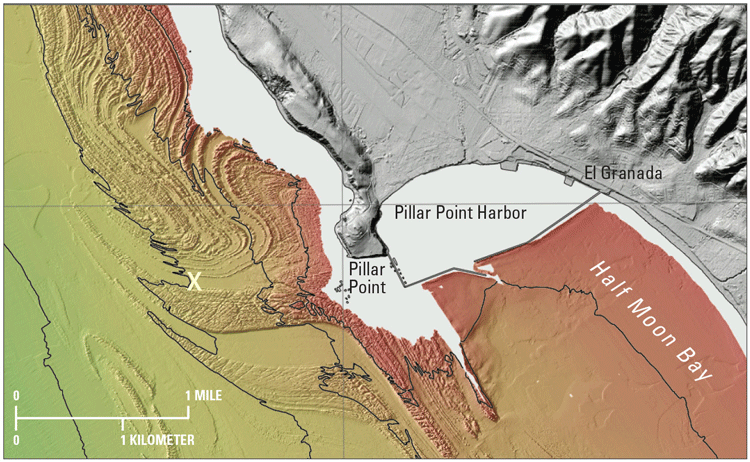 Excerpt from sheet 1 of USGS Open-File Report 2014–1214 produced by the California Seafloor and Coastal Mapping Program. This view shows color shaded-relief bathymetry (seafloor depth) offshore of Half Moon Bay, California, approximately 30 kilometers (20 miles) south of San Francisco.