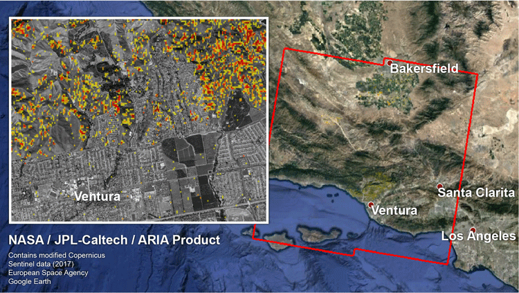 From NASA: Damage Proxy Map (DPM) depicting areas in Southern California that are likely damaged (shown by red and yellow pixels) as a result of recent wildfires, including the Thomas Fire in Ventura and Santa Barbara Counties, highlighted in the attached image taken from the DPM. The map is derived from synthetic aperture radar (SAR) images from the Copernicus Sentinel-1 satellites, operated by the European Space Agency (ESA). The images were taken before (Nov. 28, 2017, 6 a.m. PST) and after (Dec. 10, 2017, 6 a.m. PST) the onset of the fires.