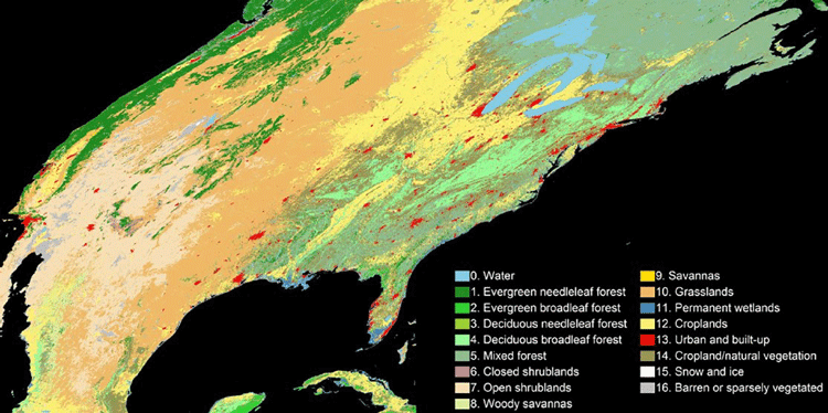 Map dividing land cover into 16 categories in 30-meter resolution. Map: Zhang & Roy, 2017.