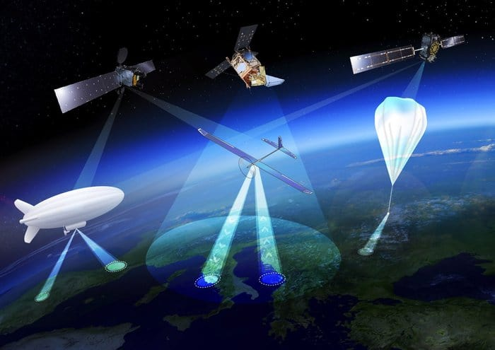Artistic rendition of High Altitude Pseudo-Satellites, or HAPS. Image: ESA Earth Observation Graphics Bureau