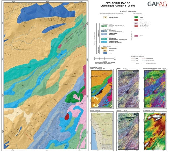 Data from the Copernicus Sentinel-1 and Sentinel-2 missions, as well as data from other satellites such as NASA's Shuttle Radar Topography Mission and the US WorldView-3 mission were used to map Namibia's geology and mineral resources.