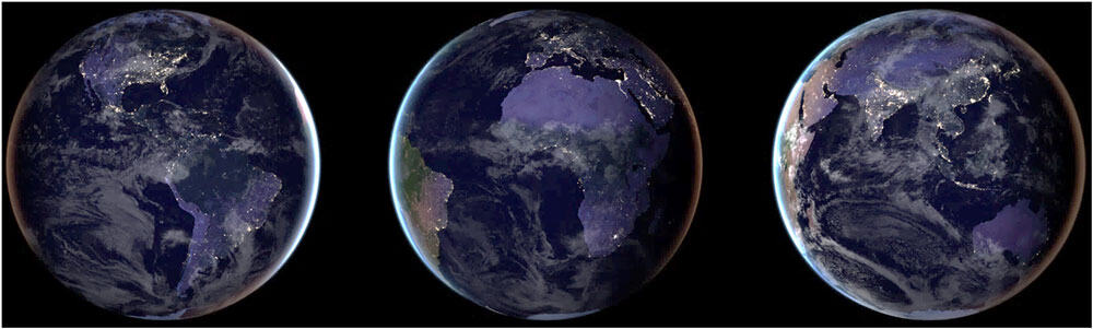 NASA Black Marble composite images for year 2016 provide full-hemisphere views of Earth at night. From: Román et. al, 2018