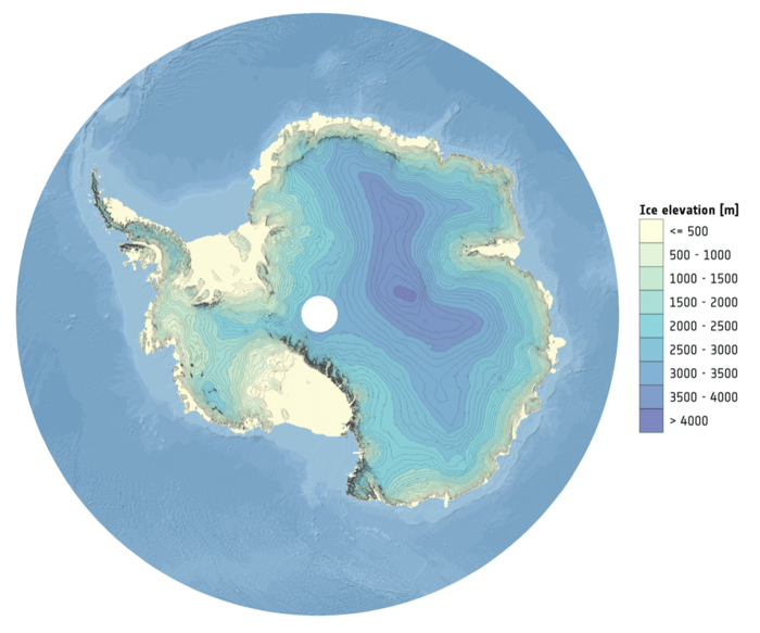 Ice height in Antarctica. Source: CPOM
