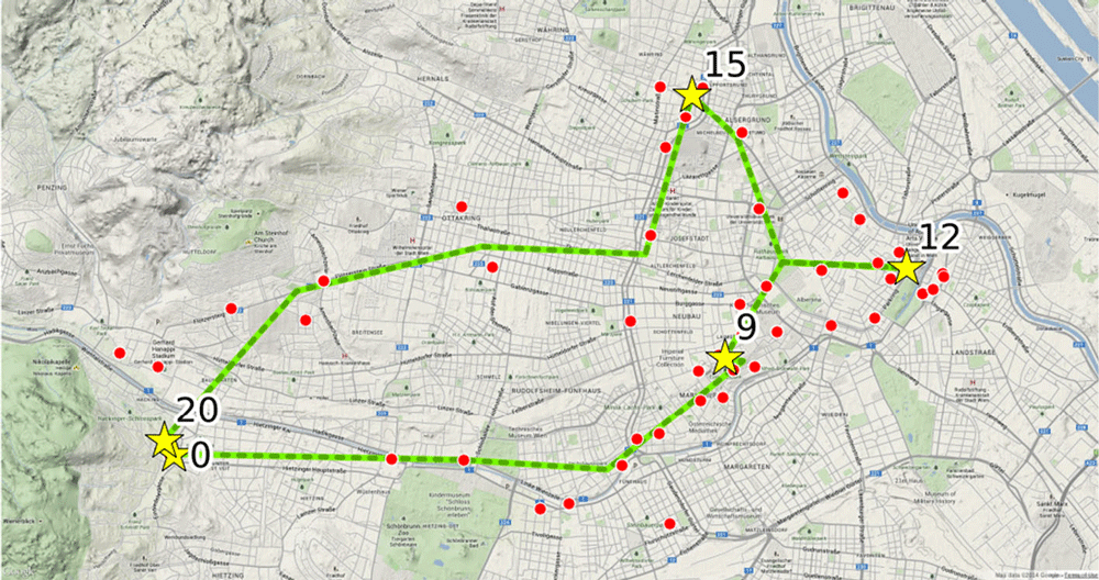 Reconstruction of trips and visited places. Red dots represent the raw cell locations and the green line is the filtered trajectory. Yellow stars mark visited places and the numbers indicate the time of day in hours since midnight.  Source: Widhalm et al., 2015.