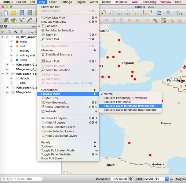 How to Use the Color Blind Preview Option in QGIS ~ GIS Lounge