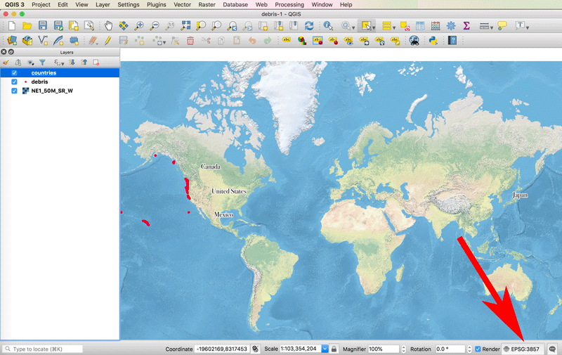 Screenshot showing where to find the map projection information in QGIS.