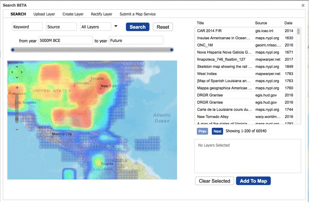 WorldMap search user interface. The WorldMap search user interface let the user to query the Hypermap search engine using the Hypermap API. From: Corti, Lewis, & Kralidis, 2018