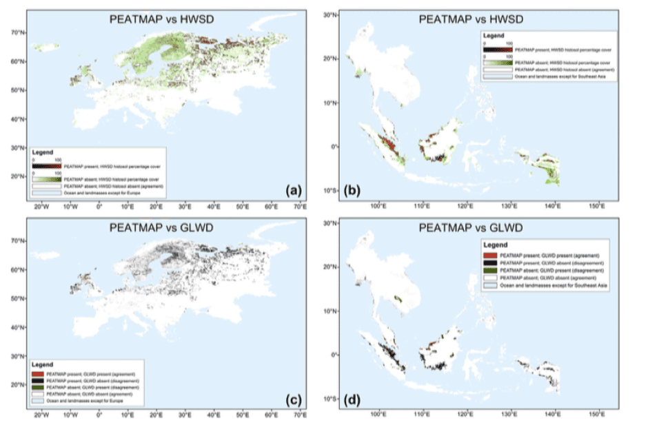 Figure 1: Areas of agreement and disagreement between PEATMAP and HWSD v1.2 (panels a and b), and between PEATMAP and GLWD-3 (c and d) for Europe (a and c) and Southeast Asia (b and d). In panels (a) and (b), black to red shading scale indicates percentage cover of histosols according to HWSD v1.2 in those pixels that contain peat according to PEATMAP (i.e., percentage by which PEATMAP overestimates HWSD histosol cover); white to green shading scale indicates percentage cover of histosols according to HWSD v1.2 in those pixels not identified as peat by PEATMAP (i.e., percentage by which HWSD histosol cover overestimates PEATMAP). White indicates pixels not identified as peatlands by either PEATMAP or HWSD v1.2. In panels (c) and (d), red indicates pixels identified as peatlands by both PEATMAP and GLWD-3; black indicates pixels that are only identified as peatlands by PEATMAP and not by GLWD-3; green indicates pixels that are only identified as peatlands by GLWD-3 and not by PEATMAP; white indicates pixels not identified as peatlands by either PEATMAP or GLWD-3. [10]