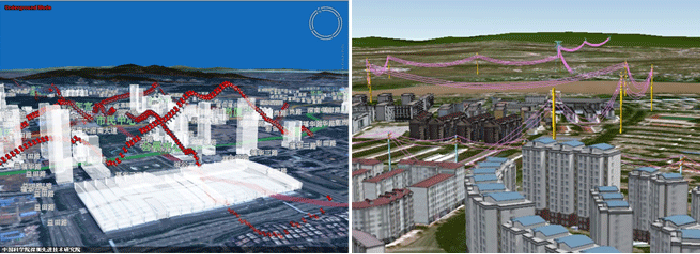 Left: Subway route tracking; Right: City power grid, XEarth. Figure:  Li et al., 2015