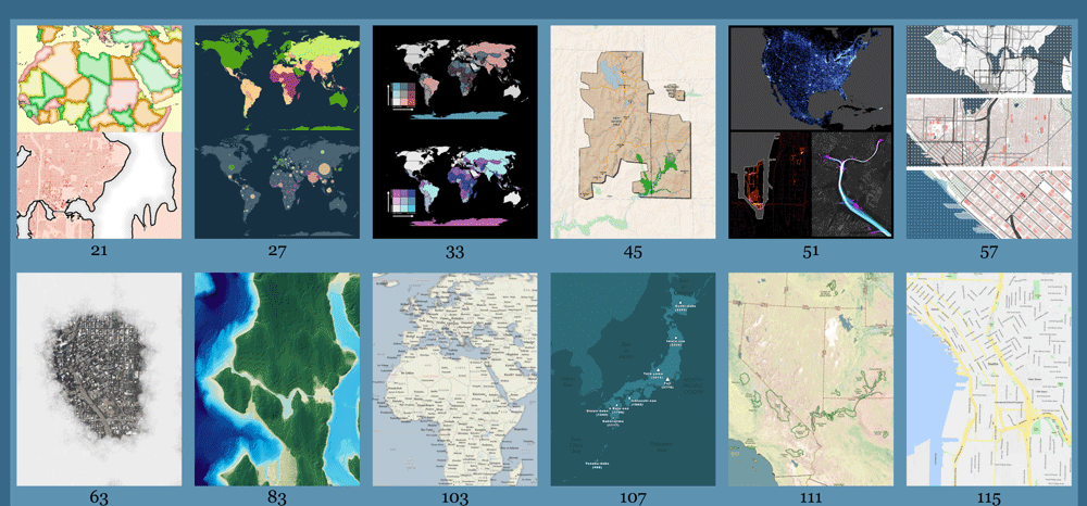 A sampling of maps users can create from the recipes offered in QGIS Map Design, 2nd edition.