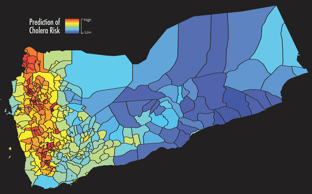 Map of predicted cholera risk based on analysis and satellite data in Yemen, June 2017. Blue color indicates low risk of cholera while red color indicates high risk of cholera. The map on the right shows the actual number of cholera cases in June 2017. The red area represent reported cholera cases. Credits: West Virginia University/Antar Jutla